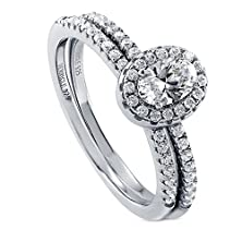 buy Berricle Sterling Silver 0.7 Ct.Tw Oval Cubic Zirconia Cz Halo Engagement Wedding Bridal Ring Set
