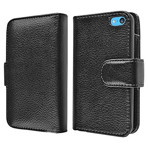 Mylife (Tm) Obsidian Black + Black Inside {Manly Wallet Design} Faux Leather (Card, Cash And Id Holder + Magnetic Closing) Slim Wallet For The Iphone 5C Smartphone By Apple (External Textured Synthetic Leather With Magnetic Clip + Internal Secure Snap In