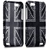 BLACK HTC ONE V UNION JACK DESIGN DIAMANTE CASE / COVER / SHELL / SKIN