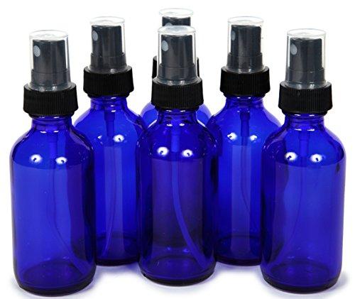 6, Cobalt Blue, 2 oz Glass Bottles, with Black Fine Mist Sprayers (Small Cobalt Blue Glass Bottles compare prices)
