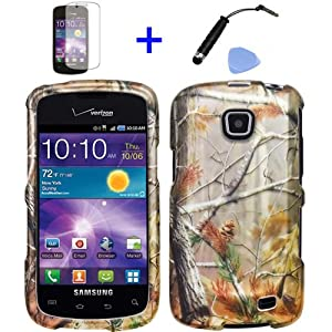 4 items Combo: Mini Stylus Pen + LCD Screen Protector Film + Case Opener + Pine Tree Leaves Camouflage Outdoor Wildlife Design Rubberized Snap on Hard Shell Cover Faceplate Skin Phone Case for Straight Talk Samsung Galaxy Proclaim 720C SCH-S720C / Verizon Samsung Illusion i110