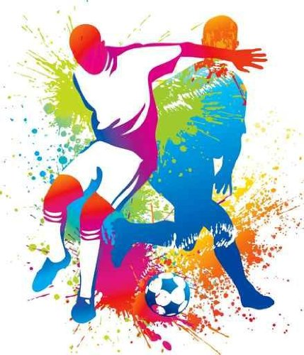 Leisure Wall Decals Soccer Players With A Soccer Ball - 30 Inches X 26 Inches - Peel And Stick Removable Graphic front-781184
