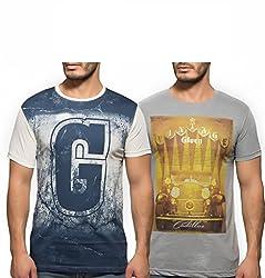 Yo Republic Mens Cotton Tshirt Combo Offer (Pack of 2)(AT-0081-1M_White_Grey_Medium)