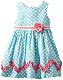 Rare Editions Girls 2-6X Dot Woven Dress, Teal/White/Fuchsia, 3T