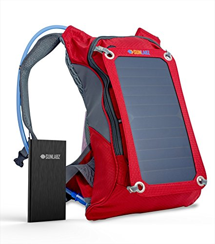 SunLabz® Solar Charger Backpack (7w) INCLUDING 10,000 mAh Power Bank and 1.8L Hydration Pack