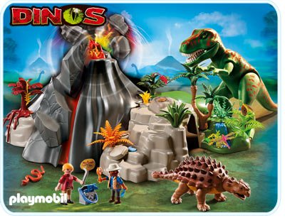 Playmobil 5230 Volcano with Tyrannosaurus and Functional Lava Stream