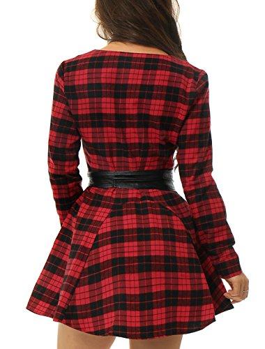 Allegra K Women Long Sleeve Plaids Print Casual Shirt Dress w Belt Red Black M