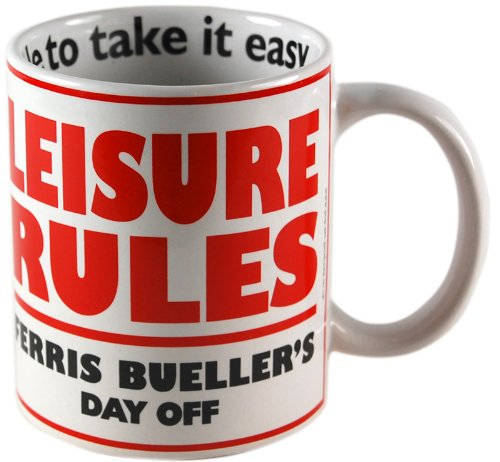 Ferris Bueller Leisure Rules 80s Movie Mug by Pop Art Products.