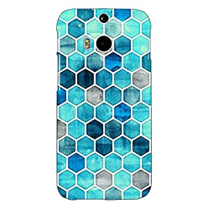 Jugaaduu Blue Hexagons Pattern Back Cover Case For HTC One M8 Eye