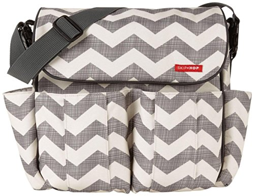 Skip Hop Dash Messenger Diaper Bag, Grey/Off White