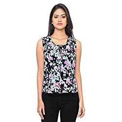 Ossi Regular Fit Navy Blue Floral Sleeveless top (HS3085-S)