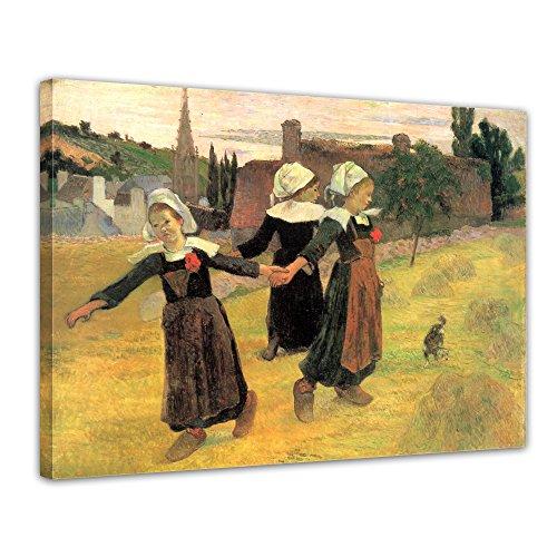 """Bilderdepot24 Leinwandbild Paul Gauguin - Alte Meister """"Der Reigen der kleinen Bretonninen"""" 70x50cm - fertig gerahmt, direkt vom Hersteller"""