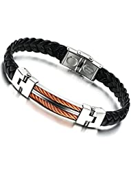 BE STEEL Jewellery Mens Leather Bracelet,Rose Gold Cable Inlay,Bangle,Black,Stainless Steel