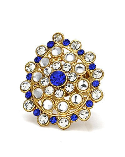 Bindhani Ethnic Traditional Gold Plated Blue Adjustable Kundan Finger Ring For Women  available at amazon for Rs.154