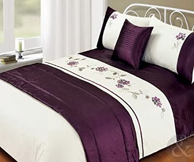 5Pc Bed In A Bag - Embroidered Duvet Cover Faux Satin Silk Complete Bedding Sets Parent Parent