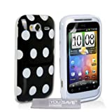 HTC Wildfire S Stylish Polka Dot Silicone Gel Patterned Case Cover And With Screen Protector Film Black White Spotsby Yousave Accessories