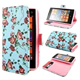 TUTUWEN E50 Flower Wallet PU Leather Stand Flip Case Cover for Nokia Lumia 520
