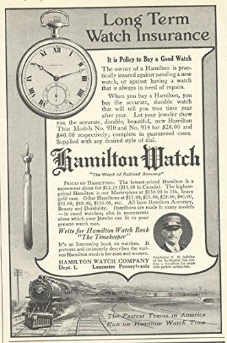 1915 Ad Burlington Train Conductor V. Salliday in Hamilton Pocket Watch - Original Vintage Advertising