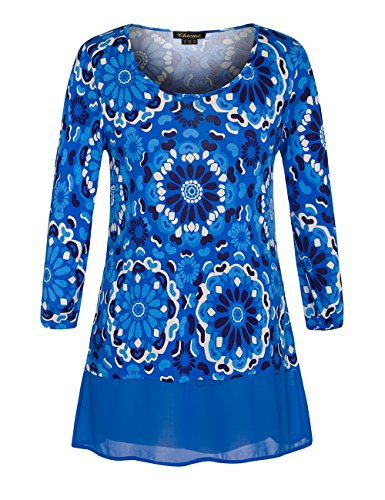 Chicwe Womens Floral Printed Plus Size Tunic Top with Chiffon Hem 18, Sea Blue