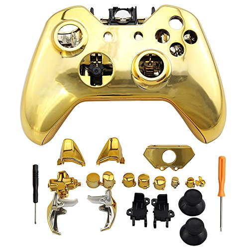 Super Custom Replacement Wireless Game Controller Shell Case Cover Kit for Xbox One - Includes Button Set, Glod
