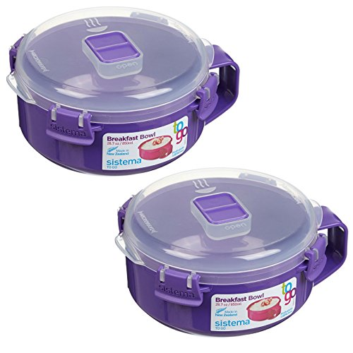 Sistema To Go Collection Microwave Breakfast Bowl (2 Pack) 28.7 Ounce/ 3.6 Cup, Blue or Lime or Pink or Purple (Microwave To Go Bowl compare prices)
