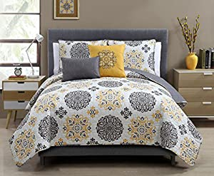 5 Pc Grey and Yellow, King Size Quilt Set By Karalai Bedding Collection