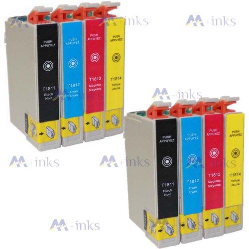 8 Druckerpatronen XP305 XP 305 XP-305 XP315 XP 315 XP-315 Kompatibel für Epson T1811 T1812 T1813 T1814 Tintenpatronen für Expression Home XP-305 drucker patronen (2x Schwarz 2x Blau 2x Rot 2x Gelb) -mit CHIP