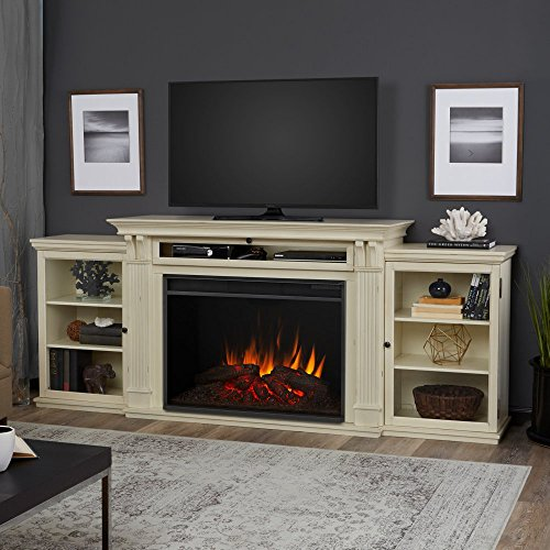 Real Flame 8720E-DSW Tracey Grand Entertainment with Electric Fireplace, Large, Distressed White (Distressed Fireplace compare prices)