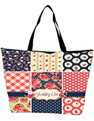 Snoogg Shabby Chic Rose Patterns And Seamless Backgrounds Waterproof Bag Made Of High Strength Nylon