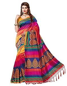 e-VASTRAM Womens Mysore Art Silk Printed Saree With Tassel/Kutch (NSTASSELMULTI_Multi)