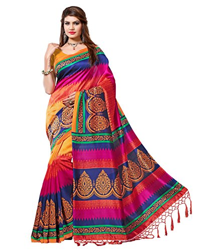 e-vastram womens mysore art silk printed saree with tassel/kutch (nstasselmulti_multi) e-VASTRAM Women's Mysore Art Silk Saree with Blouse Piece(NSTASSELMULTI_Multi) 513vDFZFZzL