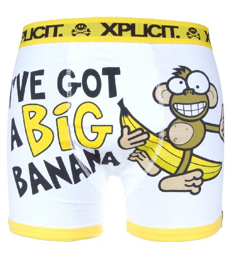 Xplicit Funny 'Banana' Novelty Boxer Shorts White
