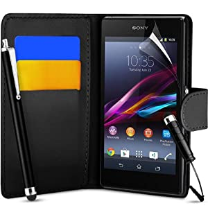 SUPERGETS Sony Xperia Z1 Compact Wallet Flip Case Cover + Capacitive Stylus Pen Black