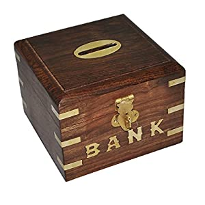 wooden handmade piggy bank money box