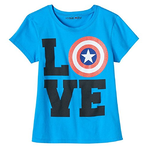 Marvel Big Girls' Captain America Love Shield Tee