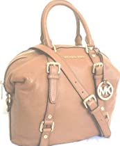 Michael Kors Tan Light Brown Pebbled Leather Large Bowling Bedford Satchel Handbag