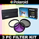 Polaroid Optics 3 Piece Filter Set (UV - CPL - FLD) For The Sony Alpha DSLR A100 - A200 - A230 - A290 - A300 - A330 - SLT-A33 - A350 - A380 - A390 - A450 - A500 - A560 - SLT-A55 - A550 - A700 - A850 - A900 & Minolta Maxxum Digital SLR Cameras Which Have Any Of These (18-70mm - 18-55mm - 75-300mm - 55-200mm - 35mm f 1.8 - 85mm f 2.8 - 50mm - 100mm) Sony Lenses