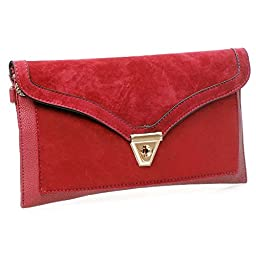 BMC Womens Ravishing Red Textured PU Faux Leather Suede Topped Envelope Flap Handbag Fashion Clutch