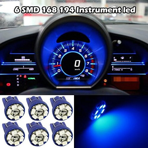 Partsam 6PCS T10 194 168 W5W 2825 Instrument Panel LED Light Gauge Cluster Dashboard Indicator Lamp Bulb, Blue (Tahoe Dash Board compare prices)