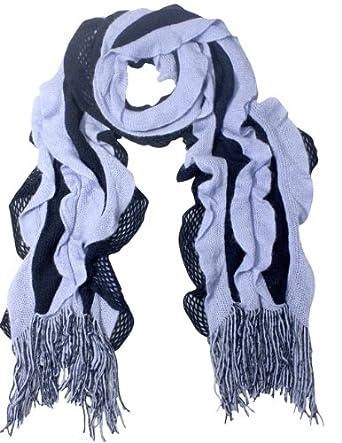 Acrylic Fashion Wavy Ruffle Knitted Tassel Ends Long Scarf - Blue