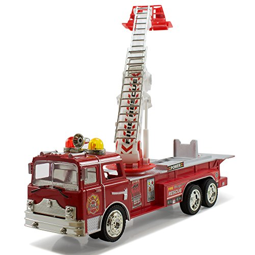 Kidsthrill Bump And Go Electric Rescue Fire Engine Ladder Truck - Kids Action Toy With Lights And Sounds (Electric Engines compare prices)