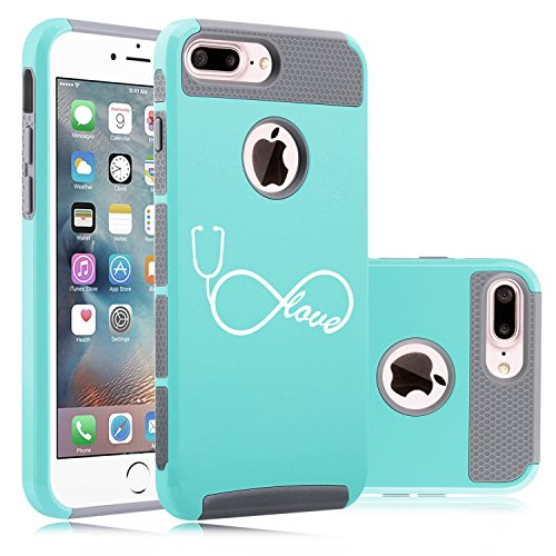 Apple iPhone (7 Plus) Shockproof Impact Hard Soft Case Cover Infinity Love Nursing Stethoscope (Teal-Gray)