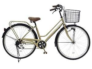CHACLE(チャクル) 空気入れ不要! ノーパンク自転車 軽快車 27インチ [外装6段変速、パラレルフレーム、LEDオートライト] シャンパンゴールド FN-CC276W-HD