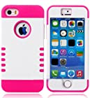 myLife Hot Pink + White Shield 3 Layer (Hybrid Flex Gel) Grip Case for New Apple iPhone 5C Touch Phone (External 2 Piece Full Body Defender Armor Rubberized Shell + Internal Gel Fit Silicone Flex Protector)