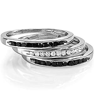 0.50 Carat (ctw) Sterling Silver Black And White Round Real Diamond Wedding Stackable 3 pcs Ring 1/2 CT