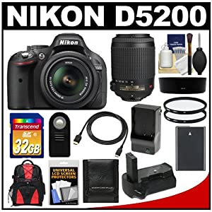 Nikon D5200 Digital SLR Camera & 18-55mm G VR DX AF-S Zoom Lens (Black) with 55-200mm VR Lens + 32GB Card + Backpack + Grip + Battery & Charger + Filters Kit