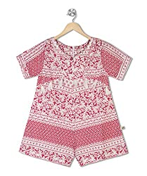 Budding Bees Girls Pink & White Printed Jumpsuit