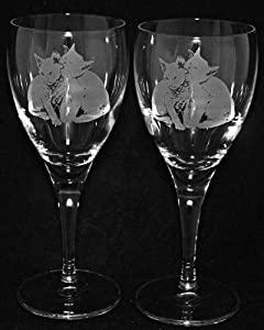 Two Cats Design Wine Glass Pair Of Wine Glasses Cat