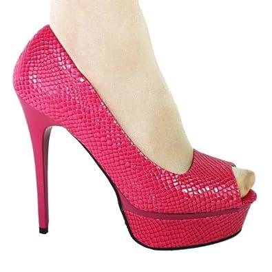High-Heels-Sandaletten: High Heels Peeptoe Plateau im Italy Design 14 cm Stiletto pink Lack