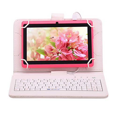 """Irulu Hd Screen Q8 7"""" Android Tablet With Keyboard Case, Android 4.2 Jelly Bean Os, 1024*600 Hd Screen With 5 Point Capactive Touch, Allwinner A23 Dual Core Cpu, Dual Cameras(0.3/2Mp), 8Gb Storage - Pink Tablet With White Keyboard Case"""